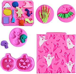 Rainmae 6 Pcs Halloween Cake Fondant Molds, Halloween Party Cupcake Topper Decorating Tools, Silicone Chocolate Candy Mold...