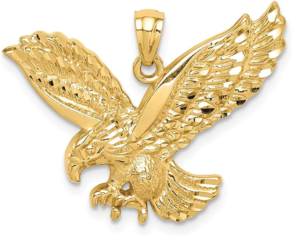 Affluent High Challenge the lowest price quality new Rock 14K Yellow Gold Diamond-cut Pendant Eagle