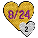 Memorial Kobe and Gigi, Their Jersey Number 8/24 2 Love Patch Iron On Sew On Embroidered Applique Badge Motif Decal 3.5 x 3.1 inches (9 x 8 cm)