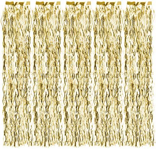com-four® 5X Lametta gewellt - Lametta Girlande in goldfarben - Weihnachtsschmuck für den Christbaum - 50 cm (goldfarben - 05 Stück)