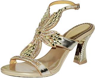 22285d83eeea3 LLBubble High Heels Rhinestone Sandals for Wedding Bridal Open Toe Back  Buckle Strap Leather Prom Evening