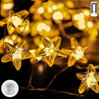 String Lights Star Shape,13ft 40LEDs Copper Wire Battery-Operated with Remote-8 Modes Timer for Indoor Outdoor, Wedding, Birthday Ornament, Patio, DIY Home Parties