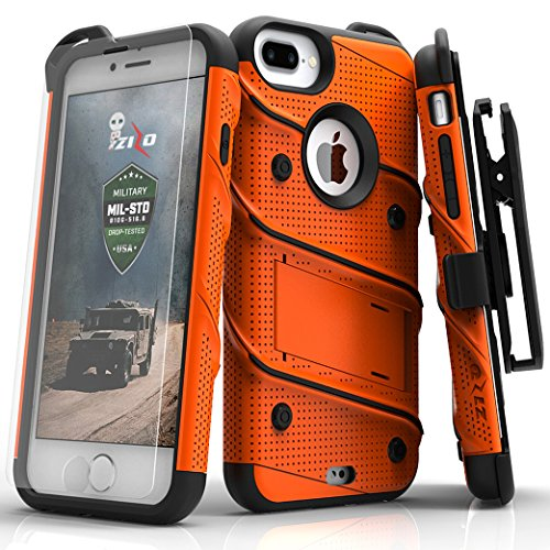 ZIZO Bolt Series for iPhone 8 Plus Case Military Grade Drop Tested Tempered Glass Screen Protector Holster iPhone 7 Plus case Orange