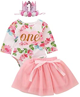Dziewczęta Dziewczynka 1. Pierwsze urodziny Impreza Ubranie Bawełna Śpioszki księżniczka tiulowa Tütü Zestaw 1 rok przyjęc...