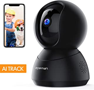 [New Version] APEMAN Pet Camera,WiFi Camera 1080P,Baby Monitor,Home Indoor Camera with Night Vision, 2-Way Audio and Motion Tracking/Detection, Wireless Security IP Camera Works with Alexa
