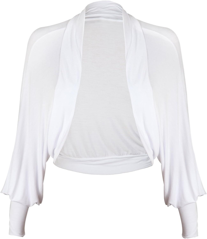 PurpleHanger Women's Batwing Sleeve Cardigan Shrug Plus Size White 16-18