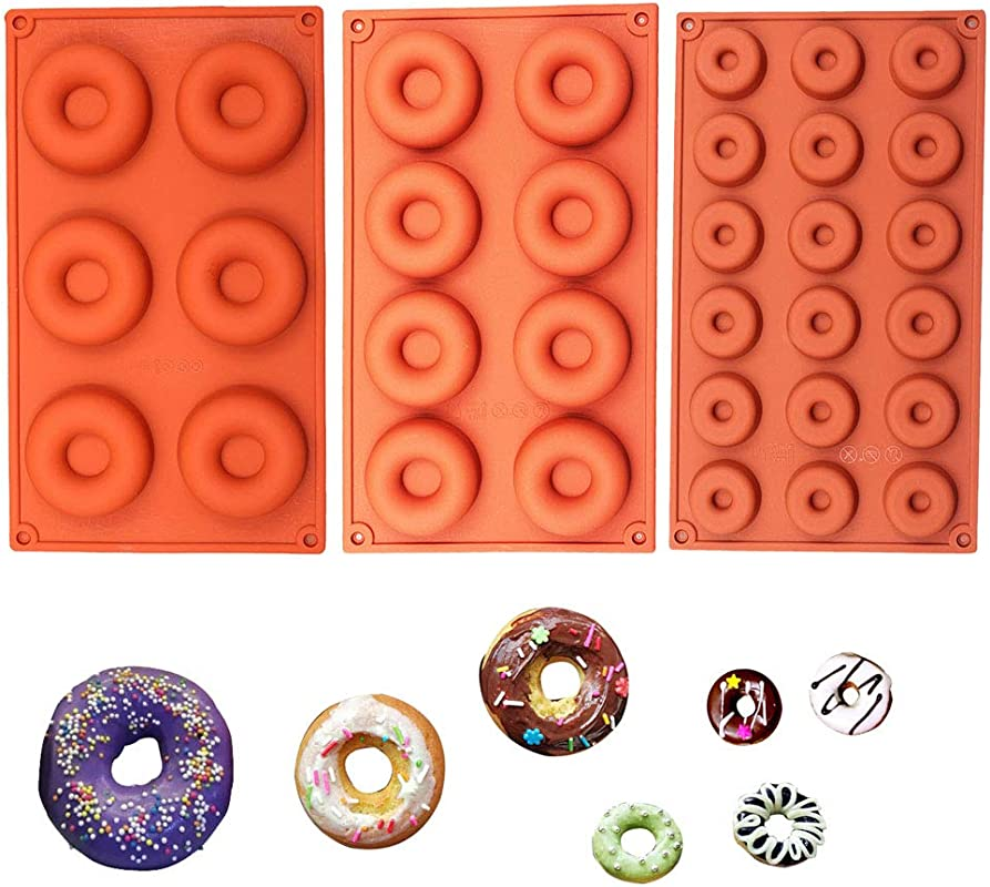 BAKER DEPOT Silicone Donut Mold Dessert Cake Chocolate Mold Three Different Size Set Of 3
