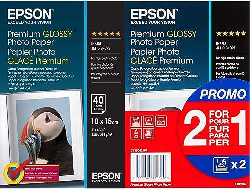 Epson Premium Glossy Photo Paper - Papier Photo Brillant 10 X 15 cm - 40 Feuilles & C13S042167 Premium Glossy - Papie...
