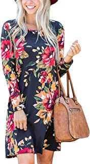 Women's Round Neck Casual Long Sleeve Loose Fit Boho Floral Swing Pockets Tunic Mini Dress Navy 2XL