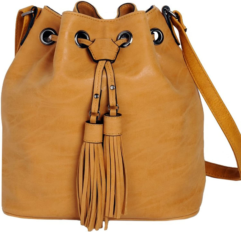 ImiLoa Beuteltasche bucket bag Beutel Quaste Fransen braun camel Umhängetasche Handtasche Freizeittasche Schultertasche Unitasche Vintage Damen B01GCXBD86  Hervorragende Funktion
