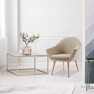 Mc Haus NAVIAN - Sillón Nórdico Escandinavo de color Beige butaca comedor salón dormitorio sillón acolchado con Reposabr...