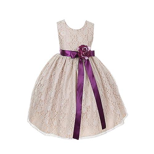 e6f879185a4 Cinderella Couture Girls Elegant Champagne Lace Flower Girl Dress   Sash
