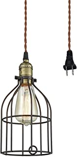 AXILAND Industrial Vintage Style Mini Plug in Pendant Light Metal Bird Cage Edison Hanging Light with Toggle Switch