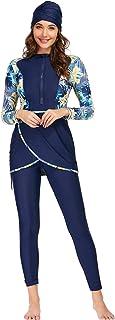 Xingsiyue Women Modest Muslim Swimsuit Islamic Swimwear Conservative Burkini Long Sleeve Beachwear 3 piece Set