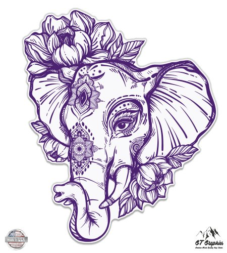 "GT Graphics Elephant Henna Purple - 5"" Vinyl Sticker - for Car Laptop I-Pad - Waterproof Decal"