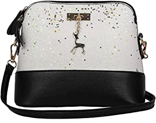 COAFIT Crossbody Bag Sequin Shoulder Bag Zipper Crossbody Purse for Women (White)