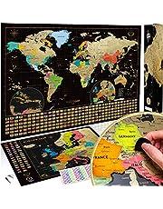 Wereldkaart om te Krassen - Kras Wereldkaart - 61 cm x 43 cm - Scratch Off Wereldkaart - Kraskaarten - Wereldkaart Kraskaart