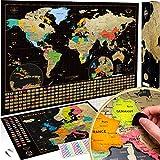 W WANDERLUST MAPS Weltkarte zum Rubbeln + Bonus Deluxe Europa Karte. Das Komplette-Set mit Allen Accessoires und Länder Flaggen. Das perfekte Premium Geschenk für alle Reiseliebhaber.