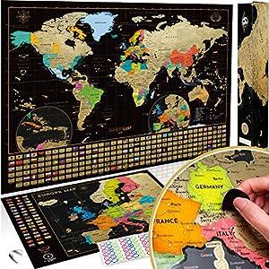 🗺SET DE DOS MAPAS DEL MUNDO: Un Mapa Mundi Grande de 61 x 43 Centímetros y un Mapa de Europa de 46 x 33 centímetros 🌏 RAYADO SUPERIOR: Mapas para Rascar hechos de material de calidad Premium para marcar con facilidad los lugares visitados ✈ ACCESORIO...