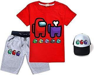 MAHUAOYIXI Completi Bambino Due Pezzi Maglietta a Maniche Corte con Motivo di Dinosauro Pantalocini Jeans Bimbo Ragazzo Estate