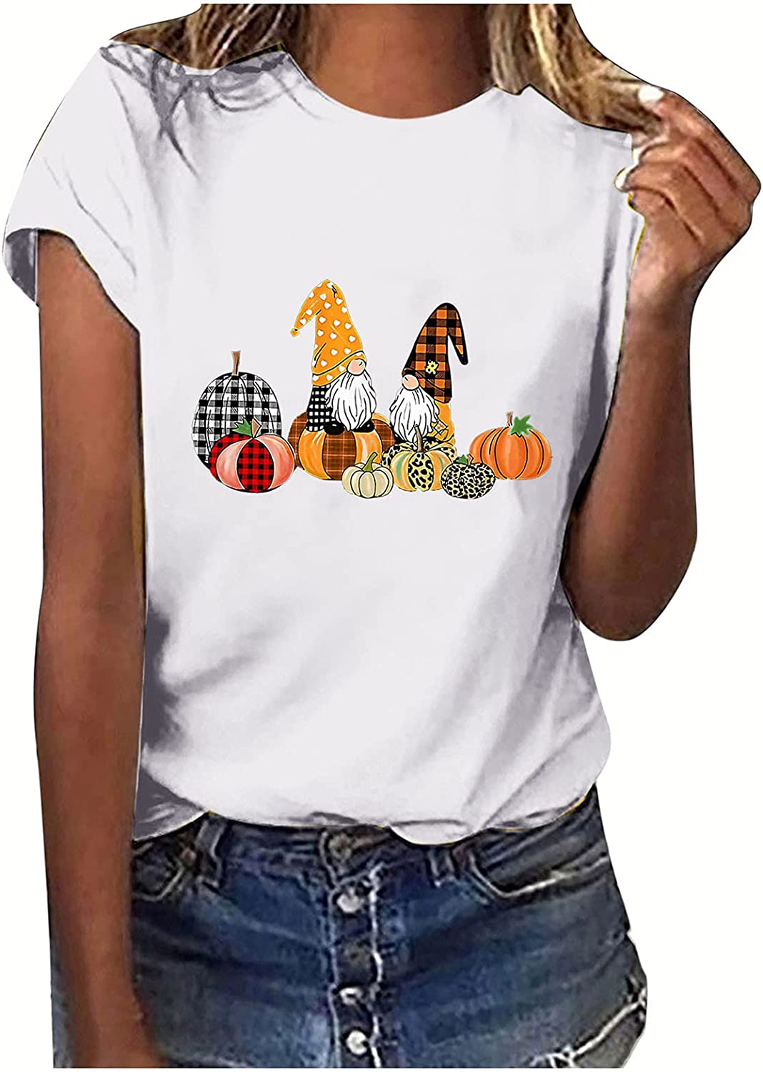 AODONG Women Halloween Shirts, Women's Halloween Gnomes Printed Tops Funny Casual Graphic T-Shirts Loose Tunic Tees