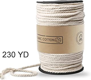 Macrame Cord, ZOUTOG 4mm x 230 yd (About 210m) Natural Cotton Soft Unstained Rope for Handmade Plant Hanger Wall Hanging Craft Making
