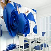 Limingxv Wallpaper City Aesthetic Blue Rose Reflection Box 3D Tv Living Room Bedroom Backdrop Decoration-400X280Cm