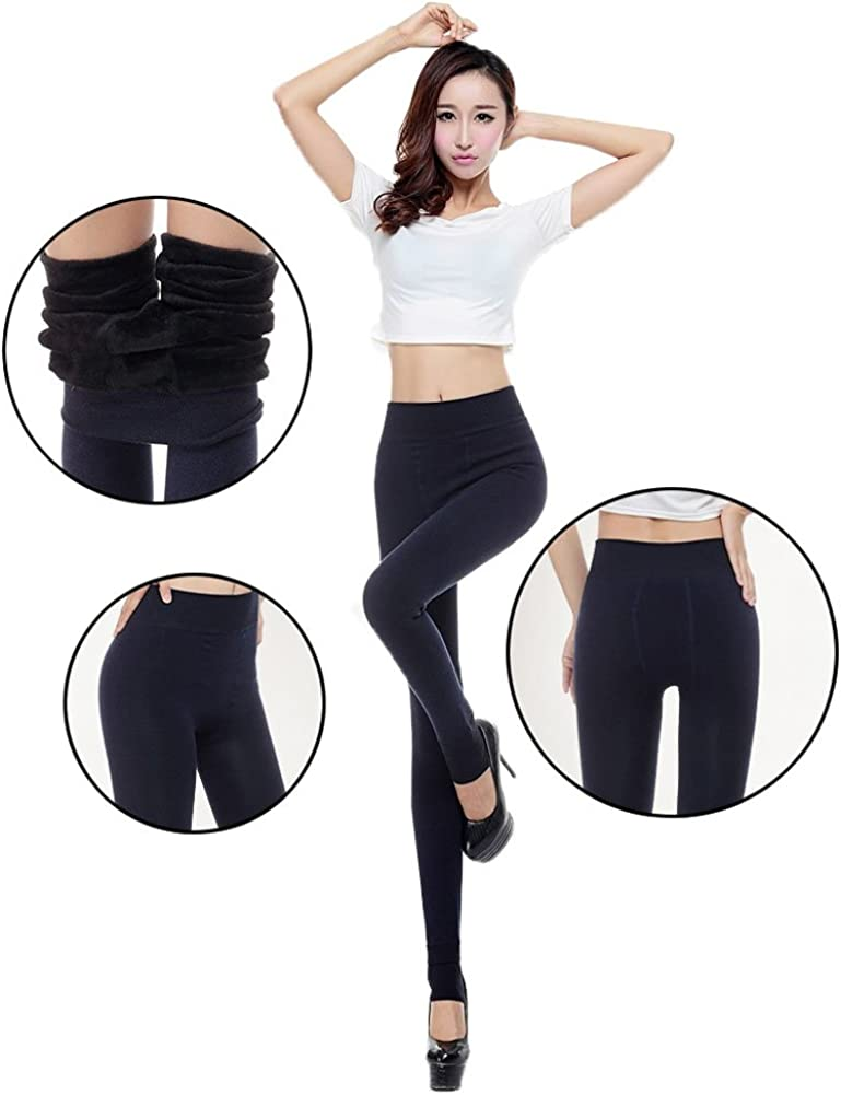 HapiLeap Women Winter Super Thick Warm Velvet Stretchy Leggings Pant