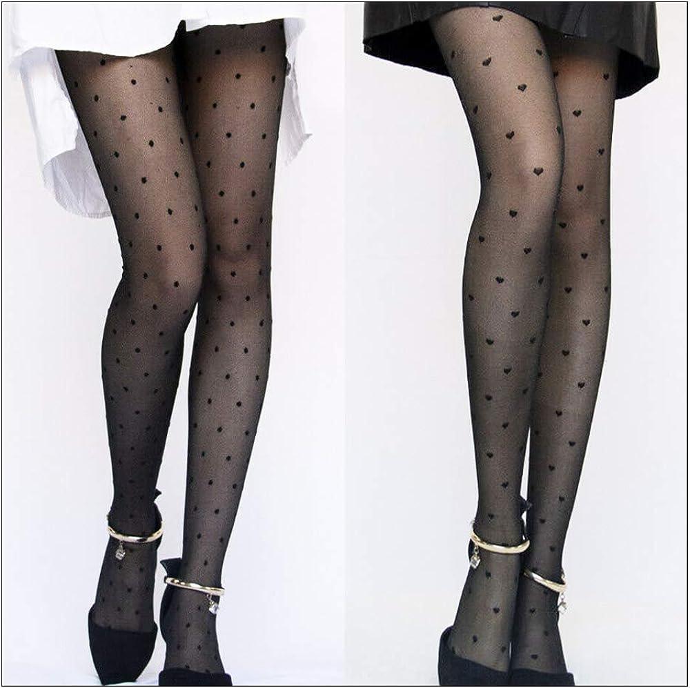 Wixine 2Pcs Women Girls Sexy Black Polka Dot Pantyhose Long Tights Stockings Hosiery Socks