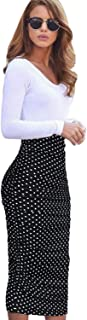 Womens Elegant Ruched Ruffle High Waist Pencil Midi Mid-Calf Skirt