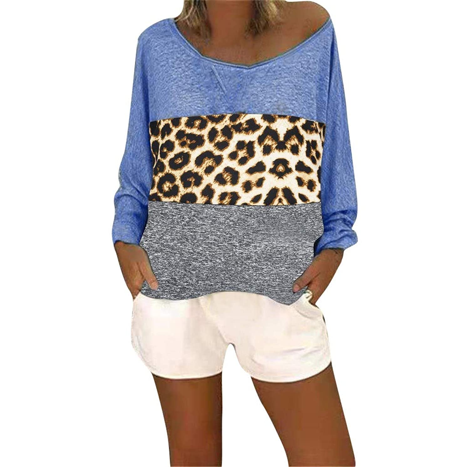 Women Plus Size Top Patchwork Pullover,Ladies Fashion O Neck Long Sleeve T Shirt Top