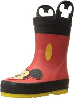 Unisex-Child Waterproof Disney Character Rain Boots with Easy on Handles