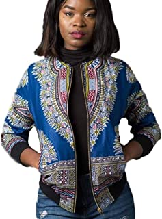 Woman Casual Short Jacket Long Sleeve Fashion African Print Dashiki Feast Clothing Ladies Dashiki Cocktail Dress Zipper Vi...