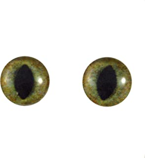10mm Realistic Glass Green and Brown Cat Eyes Animal Pair Realistic Taxidermy Sculptures or Jewelry Making Crafts Set of 2