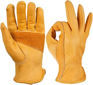 OZERO Flex Grip Leather Work Gloves Stretchable Wrist Tough Cowhide Working Glove 1 Pair (Gold, Medium)