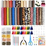 Caydo 779 Pieces Leather Earring Making Kits with Instructions, 28 Pieces 5 Styles Faux Leather Sheets, Tassel Hoops, Cut Templates, Earring Hooks, Jump Rings for Earrings Making Crafts (6.3 x 8.3 inch)