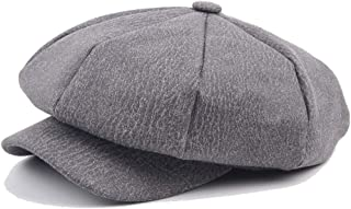 HAOHAO 2019 Beret Cap Autumn Winter Casual Hat Style Titfer Wool Ladies Leather Loony Octagonal Cap Men's Unsubdivided Beret Cap Painter Hat (Color : Gray, Size : 56-58CM)