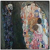 リビングルーム、ベッドルーム、フレームレスのためのキャンバスの家の装飾の写真ポスターとプリントのウォールアート絵画グスタフ・クリムト死と生生殖オイル,40×40cm