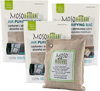 MOSO NATURAL Air Purifying Bag 3 Pack. Bamboo Charcoal Air Freshener, Deodorizer, Odor Eliminator, Odor Absorber for Cars and Closets. 200g Natural Color
