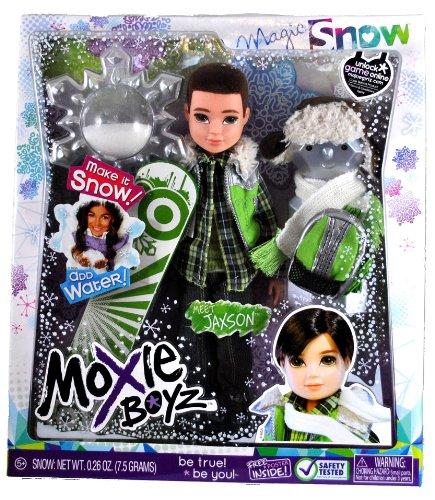 MGA Entertainment Moxie Boyz Magic Snow Series 11 Inch Doll - JAXSON with Artificial Snow, Snow Hat, Scarf, Backpack and Snowboard Plus Bonus Poster