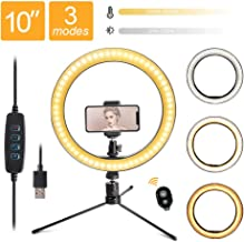 """LED 10.2"""" Desktop Selfie Ring Light with Tripod Stand & Remote Control &10 Brightness Level & 3 Light Modes and 120 Bulbs 6500k for YouTube Video/Live Stream/Makeup/Photography for iPhone Android"""