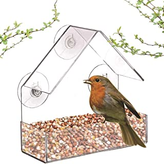 Clear Acrylic Window Bird Feeder with Suction Cups, High Seed Capacity for Outdoors Wild Birds, Finch, Cardinal And Bluebird
