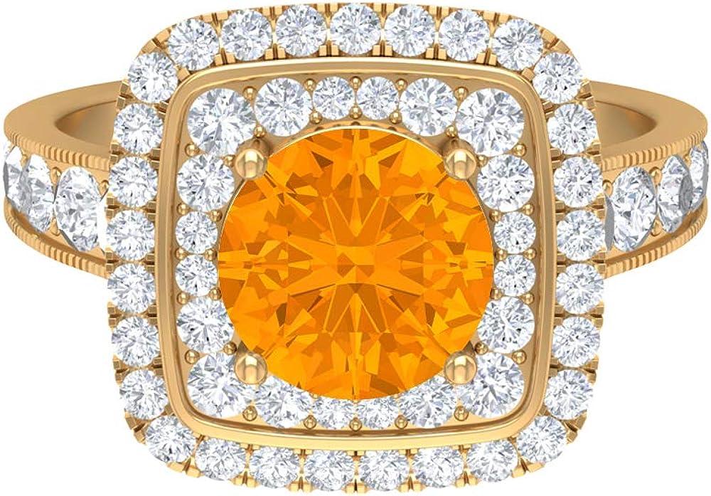 8 MM Lab Max 86% OFF Created Orange Double Moissanite D-VSSI Elegant Ring Sapphire