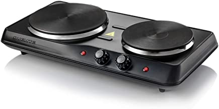 Ovente Powerful Electric Cast Iron Burner 7 Inch Double Plates with Temperature Knob, Non..