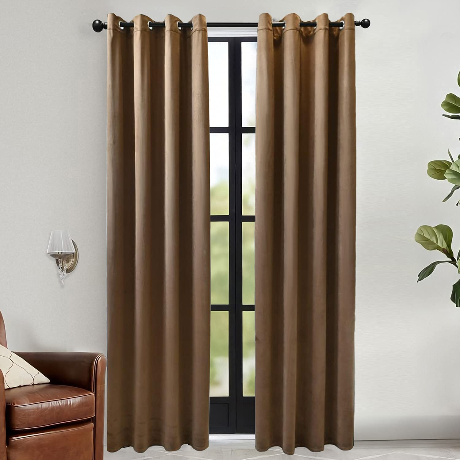 RIORIVA Home Brown Velvet Limited time sale Curtains At the price Long Inches Solid 72