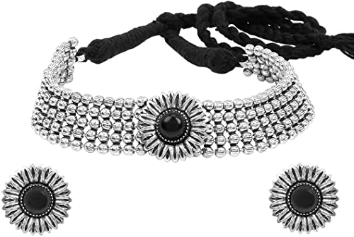 Classic German Silver Oxidised Jewellery Set Traditional Choker Necklace Set for Women and Girls