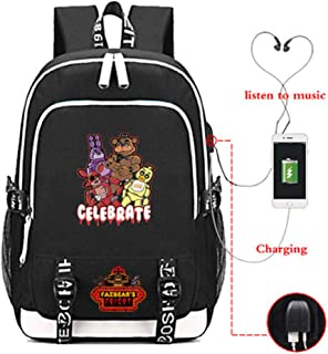 Timmor Cartoon Five Nights at Freddy's Laptop Backpack with USB Charging Port, Middle School College Bookbags for Women Men(Black1)