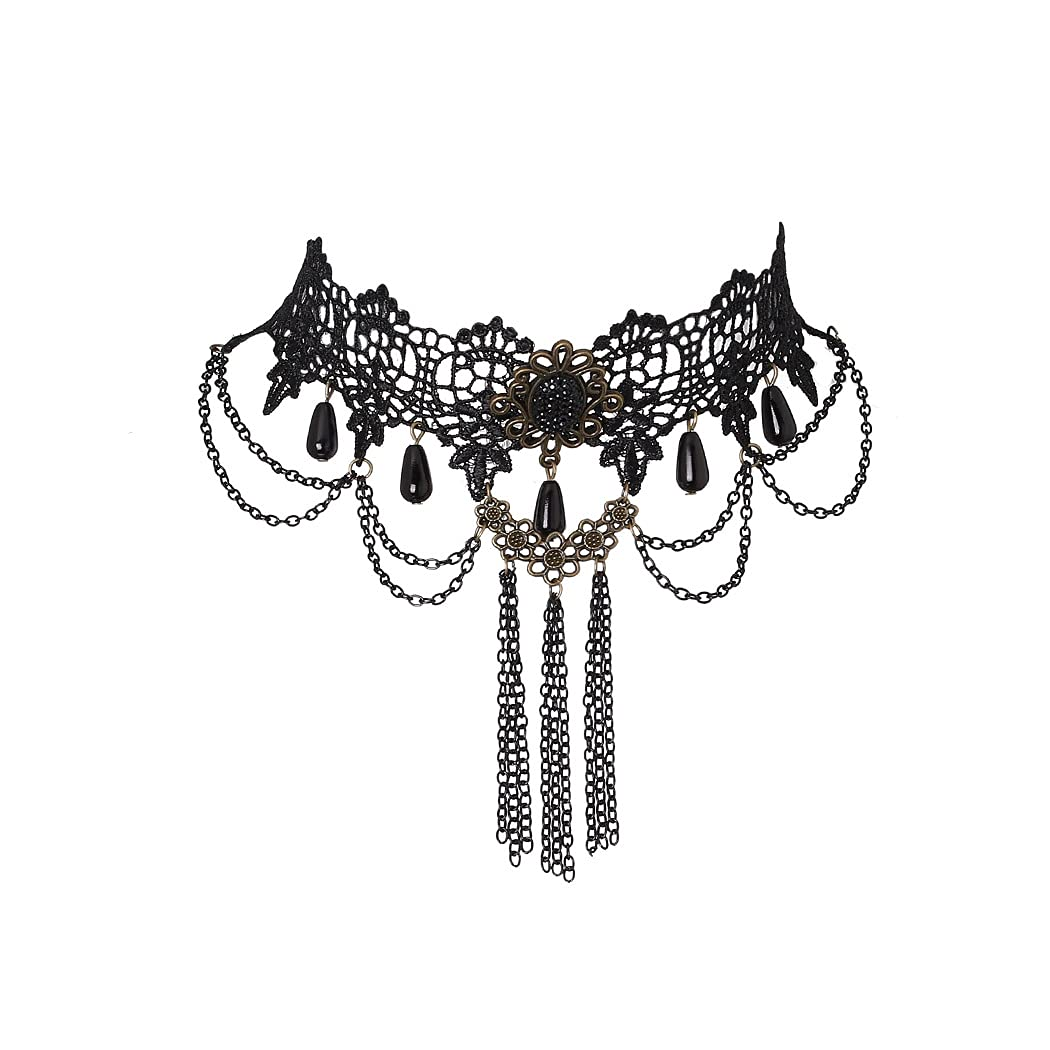 Bohend Halloween Goth Choker Necklaces Black Lace Tassels Pendant Choker Chain Necklaces Gothic Jewelry Accessories for Women and Girls