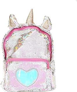 sdtdia Unicorn Backpack Girls Sequin Backpack Glitter Bling Rucksack School Women Sparkle Casual Daypack (Gold)