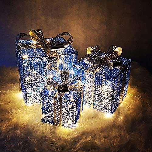 Yenisai - Set di 3 scatole regalo con luci a LED per Natale, decorazione per interni ed esterni, colore: blu